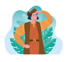 christopher columbus with tropical leaves vector