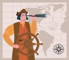 Happy Columbus day celebration banner with Christopher Columbus