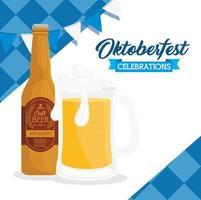 Oktoberfest celebration banner with craft beer vector