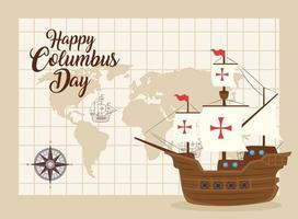 Banner de celebración del día de colón feliz con carabela y mapa vector