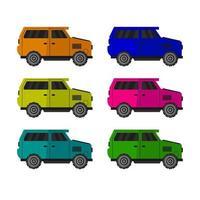 Set Of Minivans On White Background vector