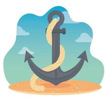 anchor with rope on the beach vector