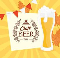 craft beer in glass in garlands hanging vector