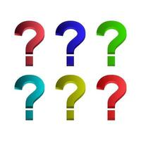 Set Of Question Mark White Background vector