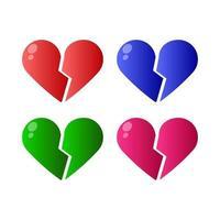 Conjunto de corazón roto sobre fondo blanco. vector