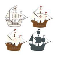 conjunto de barcos carabela vector