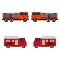 Set Of Fire Trucks On White Background vector
