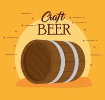 wooden barrel of craft beer on yellow background vector