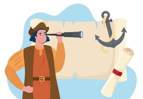 Happy Columbus day celebration banner with Christopher Columbus vector