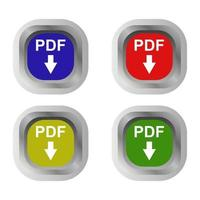 Pdf Download Set On White Background vector