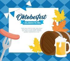 Banner de celebración de oktoberfest con barril de cerveza de madera vector