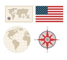 Columbus day icon set vector