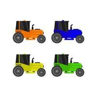 conjunto de tractor sobre fondo blanco vector