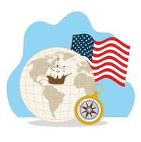Happy Columbus day celebration with icons vector