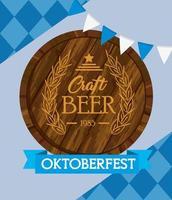 Oktoberfest celebration banner with craft beer barrel vector