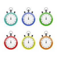Set Of Stopwatch On White Background vector