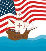 Banner de celebración del día de colón feliz con carabela y bandera de EE. UU. vector
