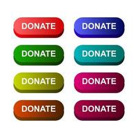 Set Of Donate Button On White Background