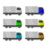 Set Of Trucks On White Background vector