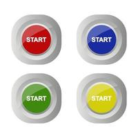 Set Of Start Button On White Background vector