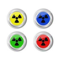 Set Of Radiation Signal On White Background vector