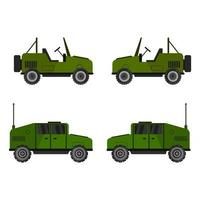 Set Of Military Jeeps On White Background