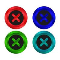 Set Of Close Button On White Background vector
