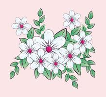 cute flowers with branches and leaves vector
