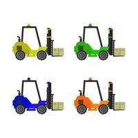 Forklift Set On White Background vector