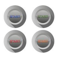 conjunto de botón de inicio sobre fondo blanco vector