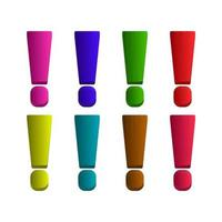 Set Of Exclamation Mark On White Background vector
