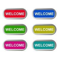 Welcome Button Set vector