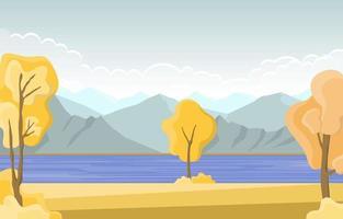 escena de otoño con lago, árboles y montañas. vector