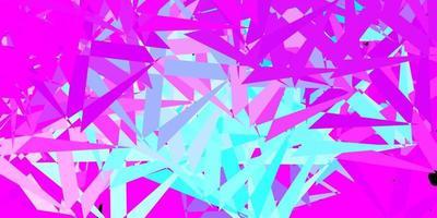 Telón de fondo de vector rosa claro, azul con triángulos, líneas.