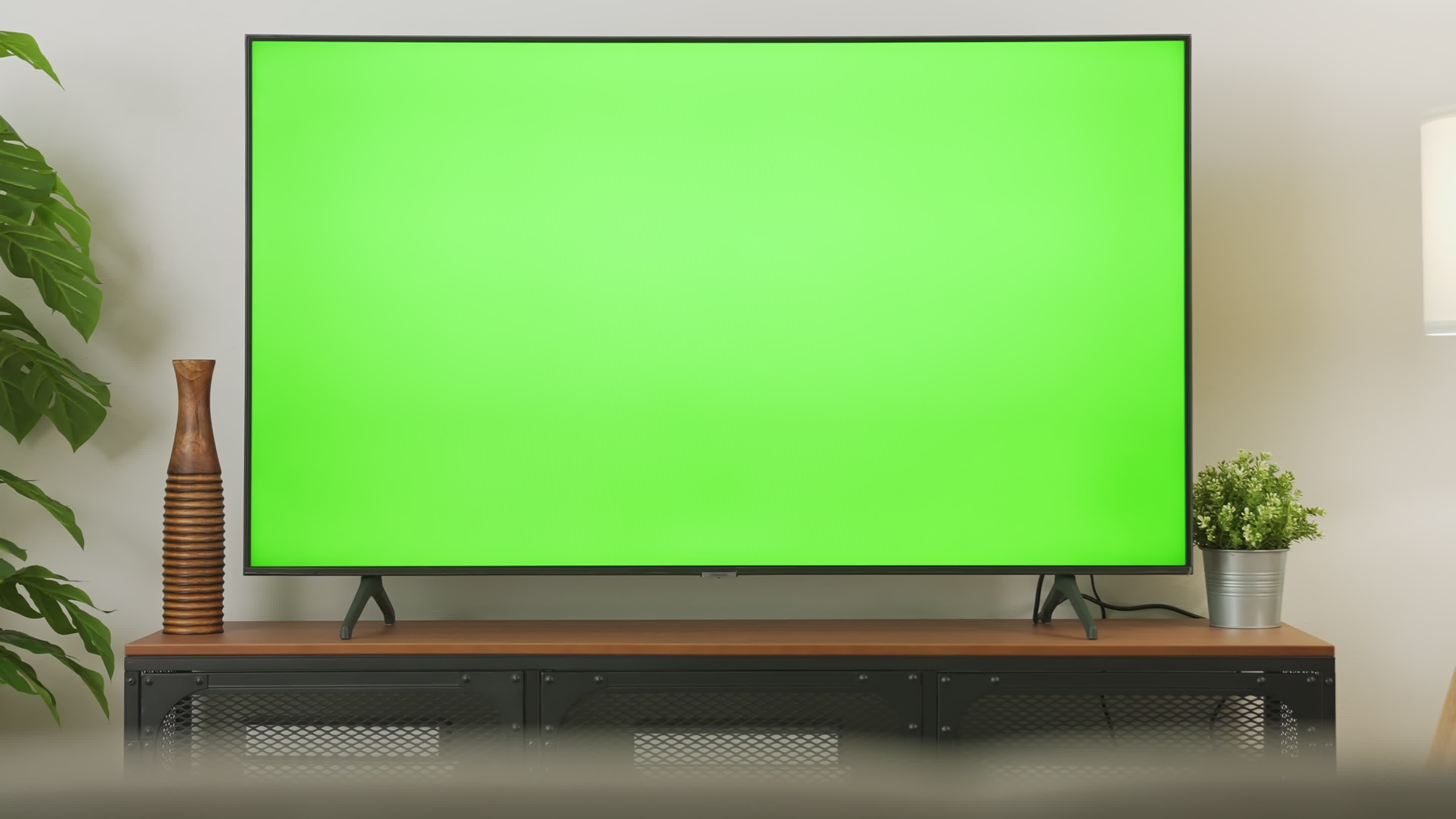 Zoom Out On Tv With Green Screen In Living Room 2039651 Free Hd Video Clips Stock Video Footage