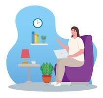 mujer con laptop trabajando desde casa vector