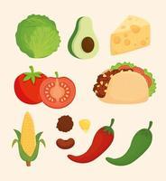 Mexican food icon set vector