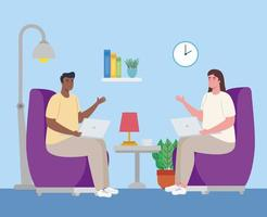 young couple working from home vector
