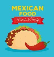 cartel de comida mexicana con taco fresco y sabroso y ají vector