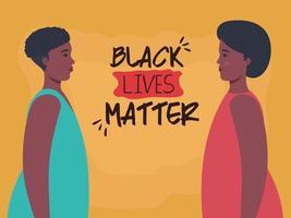 Las vidas negras importan banner con mujeres, detener el concepto de racismo vector