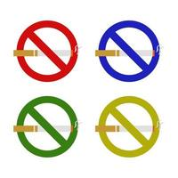Set Of Ban On Smoking On White Background vector