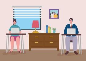 teletrabajo, pareja joven trabajando desde casa vector