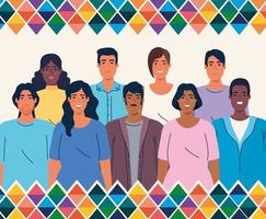 National hispanic heritage month banner with multiethnic group of people vector
