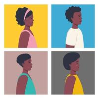 Pictures of young afro people on their profiles vector