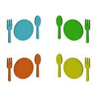 Juego de platos y cubiertos sobre fondo blanco. vector