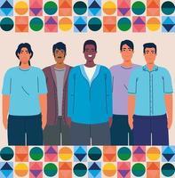 mes nacional de la herencia hispana y grupo multiétnico de hombres juntos vector