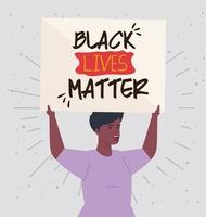 black lives matter with woman holding a banner, stop racism concept vector