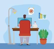 hombre con laptop trabajando desde casa vector