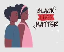 Banner de asuntos de vidas negras con jóvenes, concepto de detener el racismo vector
