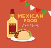 Mexican food poster with taco, tequila bottle and garlands hanging vector